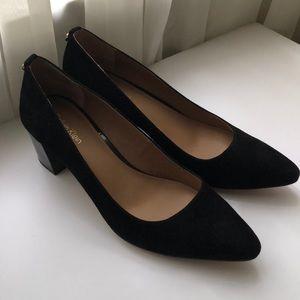 Calvin Klein black suede block heel